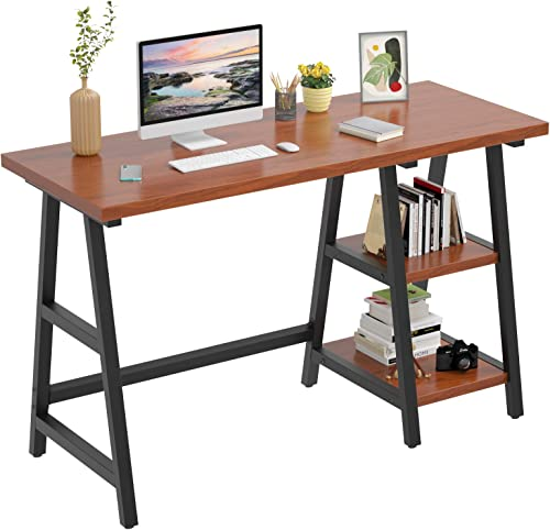 Foxemart 47 Inch Trestle Computer Table Study Writing Home Office Desks