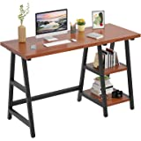 """Foxemart 47 Inch Trestle Computer Table Study Writing Home Office Desks with Storage Shelves, 2-Tier 47"""" Modern Sturdy PC Lap"""