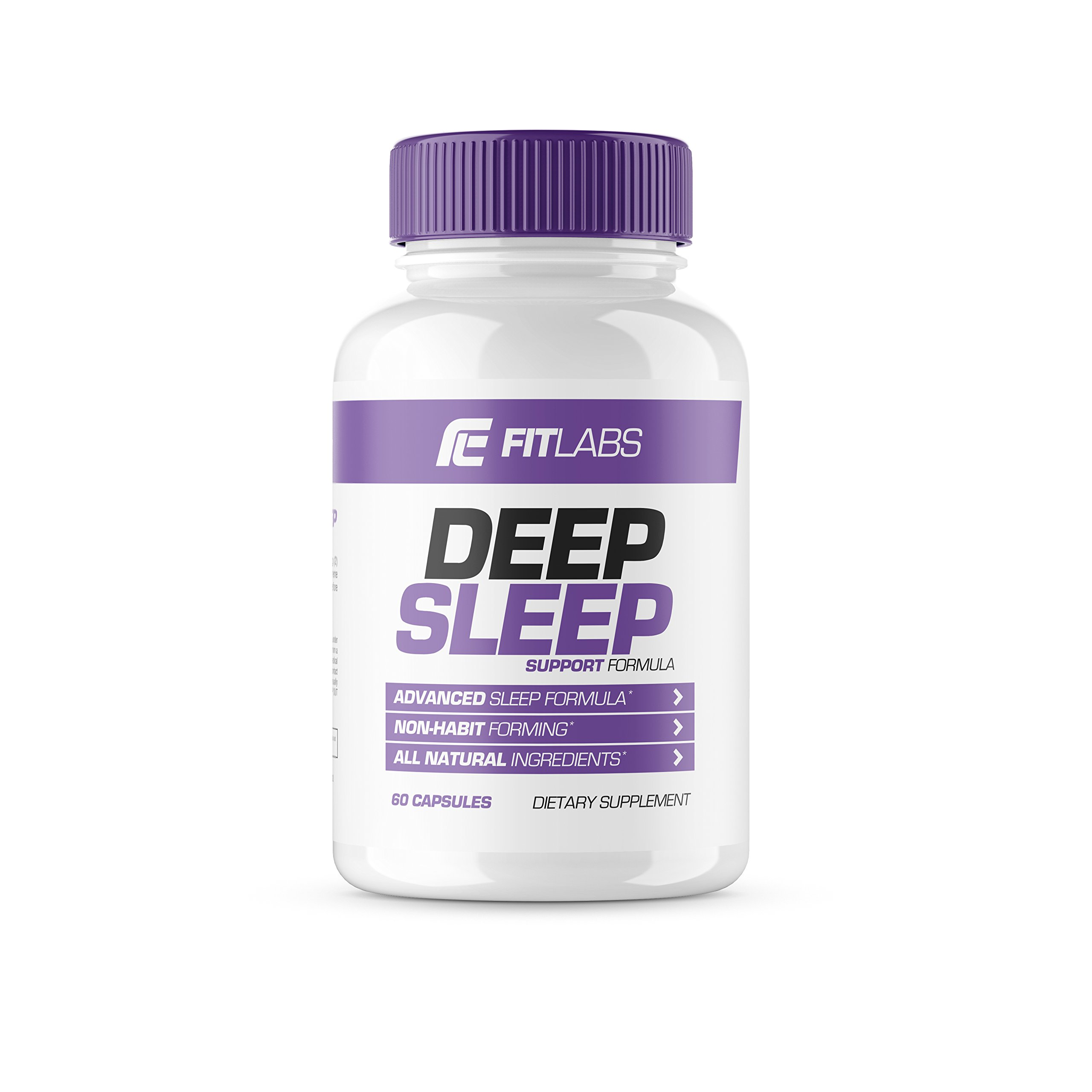 Fit Labs Deep Sleep Support Formula, 60 Non-Habit Forming Capsules, All Natural Ingredients with Melatonin, Ashwaganda, Passion Flower Extract, Herbal Supplement Pills, Aids Falling Asleep Fast