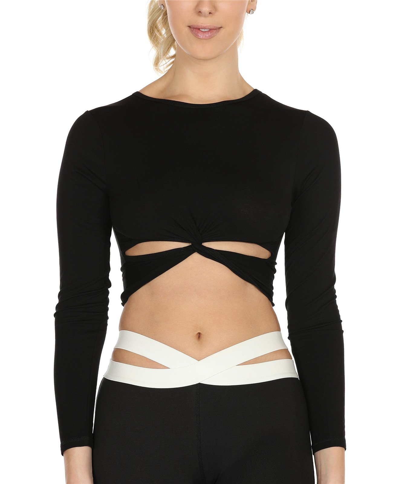 icyzone Long Sleeve Crop Tops for Women - Activewear Workout Yoga Gym Lounge T Shirts (Black, L)