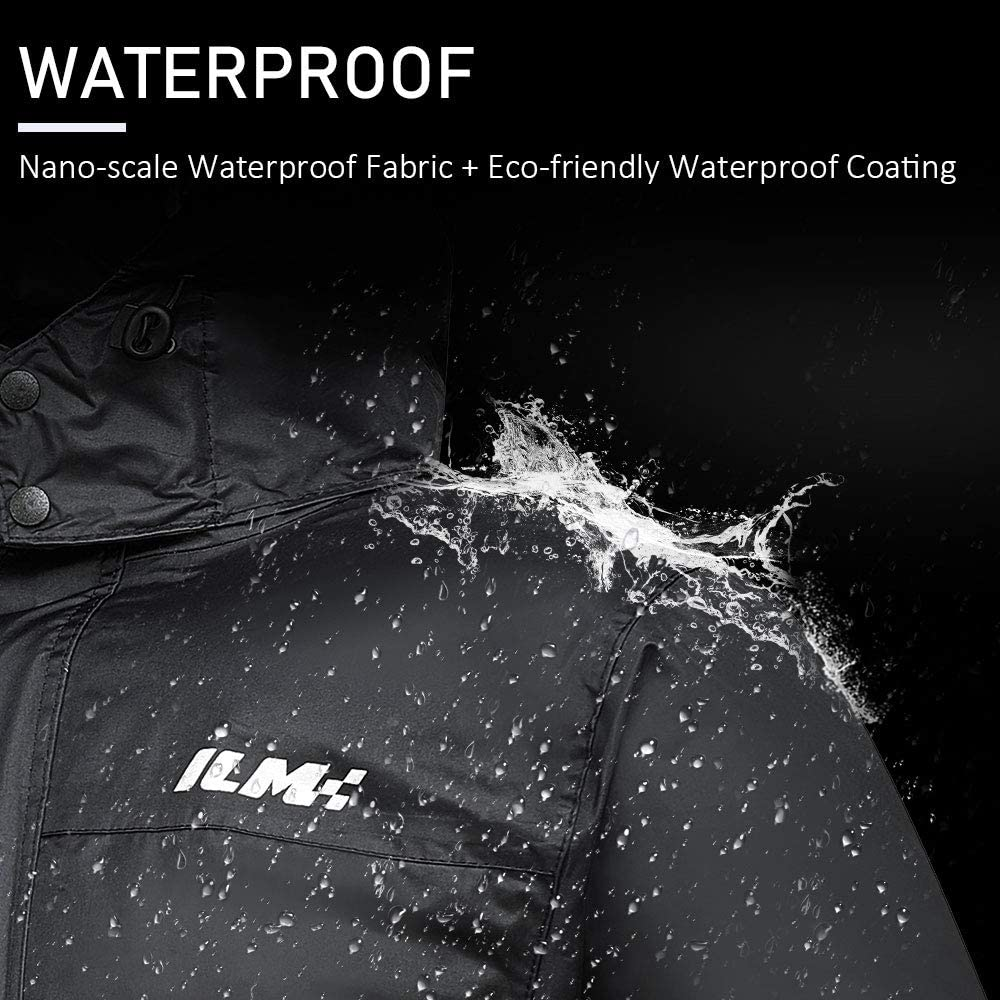 Mens Medium, Gray ILM Motorcycle Rain Suit Waterproof Wear Resistant 6 Pockets 2 Piece Set with Jacket and Pants Fits Men Women