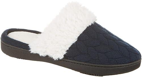 b88d96cdd Isotoner Women s Textured Jersey Knit Ansley Clog Navy Blue Medium 7.5-8
