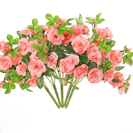 Amazon justoyou artificial silk mini roses flowers bouquet for justoyou artificial silk mini roses flowers bouquet for homes table wedding 5 coral pink mightylinksfo