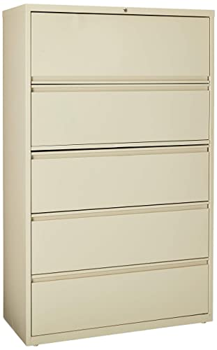 Lorell 5-Drawer Lateral File, 42 by 18-5 8 by 67-11 16-Inch, Putty