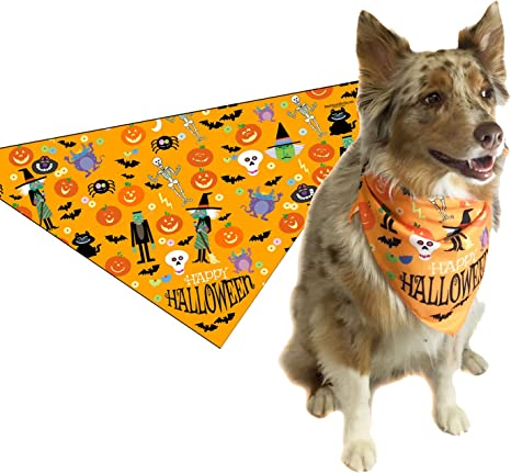 Festive Over The Collar Dog Bandana LAST CHANCE SALE Halloween Dog Bandana Spooky Bandana