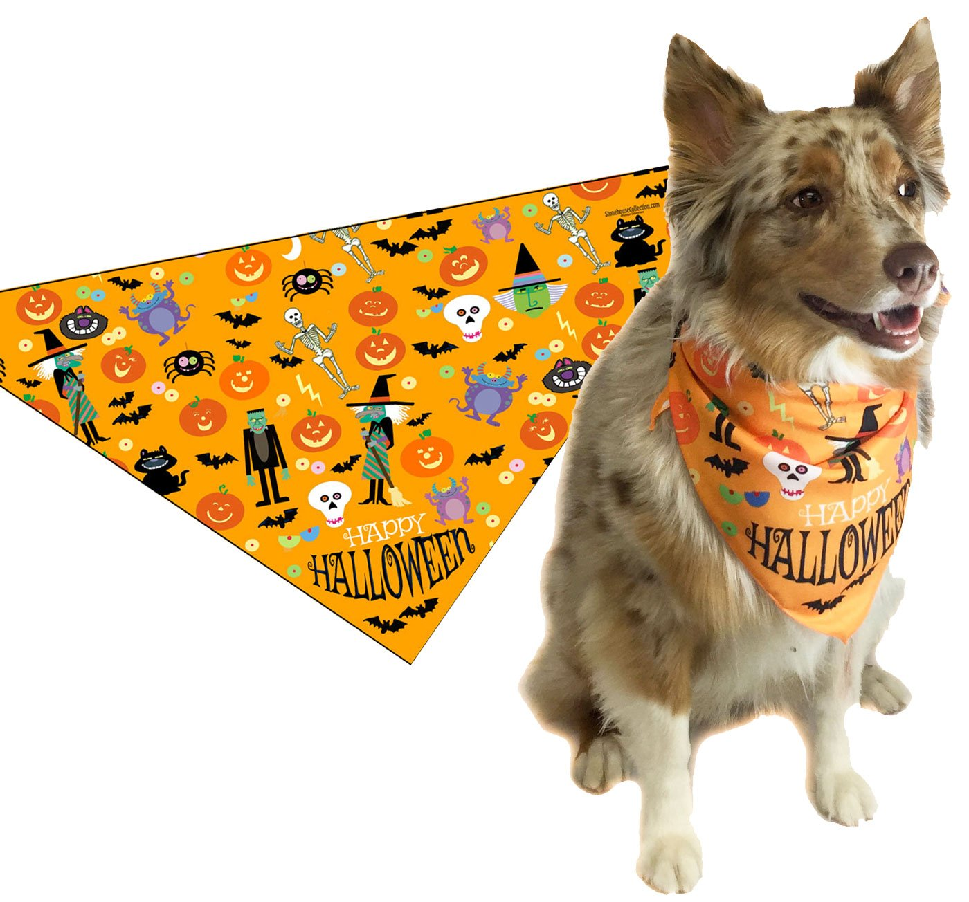 Stonehouse Collection Halloween Dog Bandana - Medium to Large Dogs