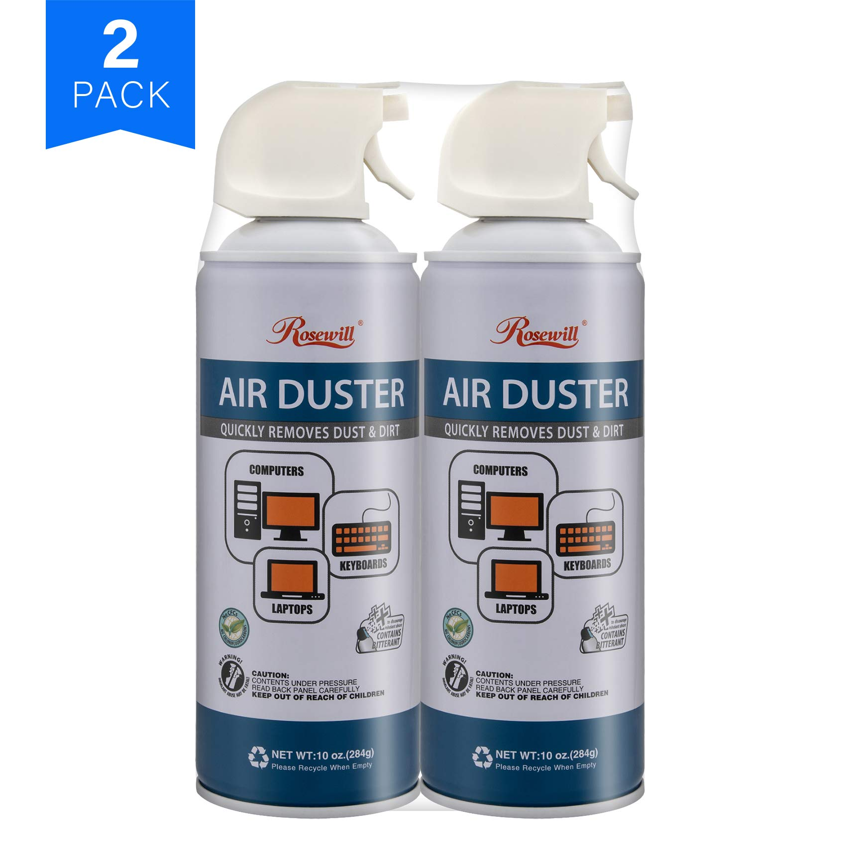 Rosewill Compressed Gas Duster, 10 oz Canned Air Multipurpose Computer Keyboard Cleaner Spray (2-Pack), Ozone Safe - RCGD-18002
