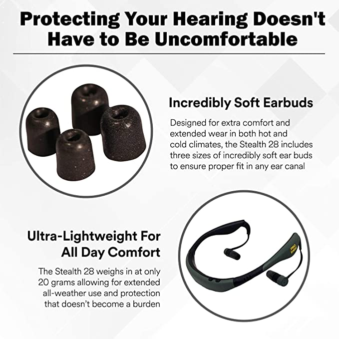 Rechargeable Digital Earbuds Electronic Hearing Protection /& Amplification Black PEEBBLK Behind The Head Ear Buds Pro Ears Stealth 28 NRR 28