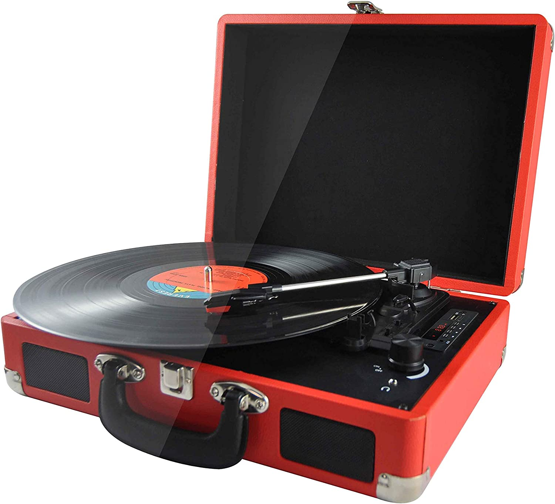 PRIXTON - Tocadiscos de Vinilo Vintage, Reproductor de vinilo y Reproductor de música mediante Bluetooth y USB, 2 Altavoces Incorporados