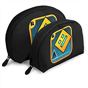 Others Geometry Dash Travel Cosmetic Pouch Clutch Portable Bags Handbag Organizer with Zipper