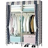IMILLET ワードローブ組み立て式 カバー付き ボコり防止 クローゼット収納 おしゃれ収納棚 大容量 衣類収納 (三色縞B)