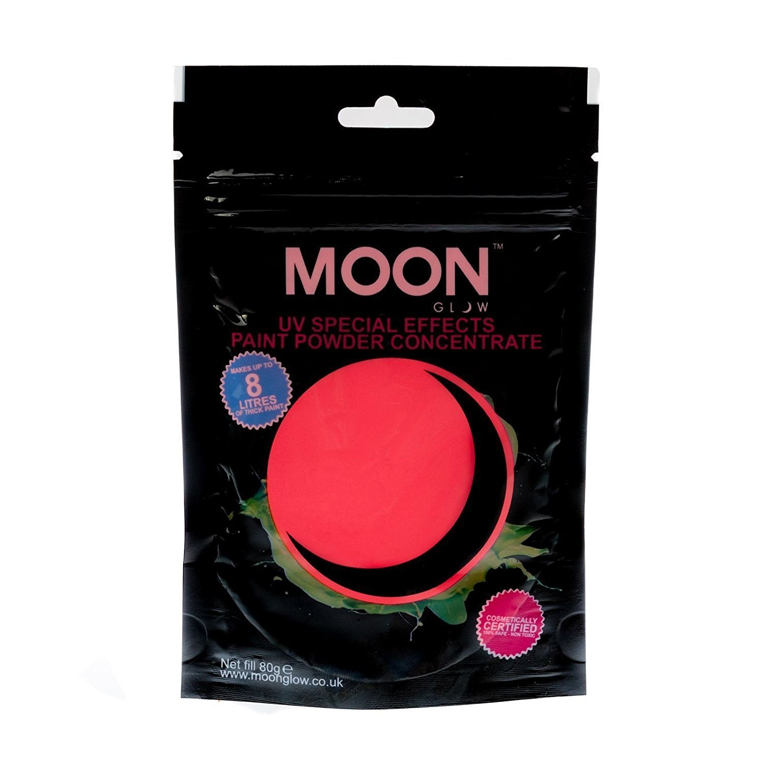 Moon Glow - 2.8oz Blacklight Paint Powder Red - Neon Special Effects Paint Party Powder Concentrate - Makes up to 2.1 US Gal!