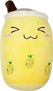 Omega Pax Variety Boba Milk Tea Plushie Pillow, Comforting Stuffed Animal Toy, Super Soft Material, Snuggle Plush Travel Companion (Pineapple Boba)
