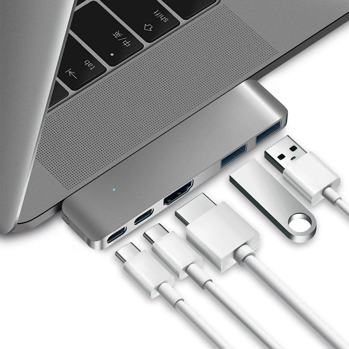 "Purgo USB C Hub Adapter for 2020/2019/2018 MacBook Air, 2020/2019-2016 MacBook Pro 16"",15"",13"", Ultra Slim Type C Hub with 4K HDMI, 100W Power Delivery, 40Gbps TB3 and 2xUSB 3.0 (Space Grey)"