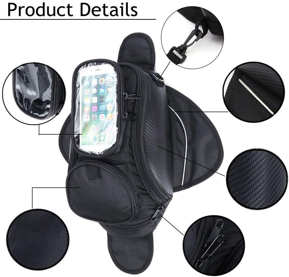 Qiilu Motorcycle Tank Bag Strong Magnetic Waterproof Oil Fuel Tank Bag Travel Luggage GPS Phone Pouch