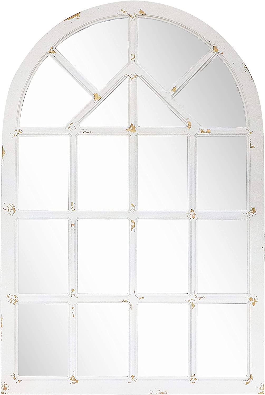 "Barnyard Designs Rustic Wood Window Mirror, Decorative Arched Window Frame Wall Mirror, Vintage Primitive Country Farmhouse Wall Decor, 31.5"" x 48"""
