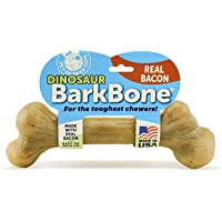 Pet Qwerks Real Bacon Infused Dinosaur BarkBone - Durable Dog Toy for Aggressive Chewers, Tough Power Chewer Bones…
