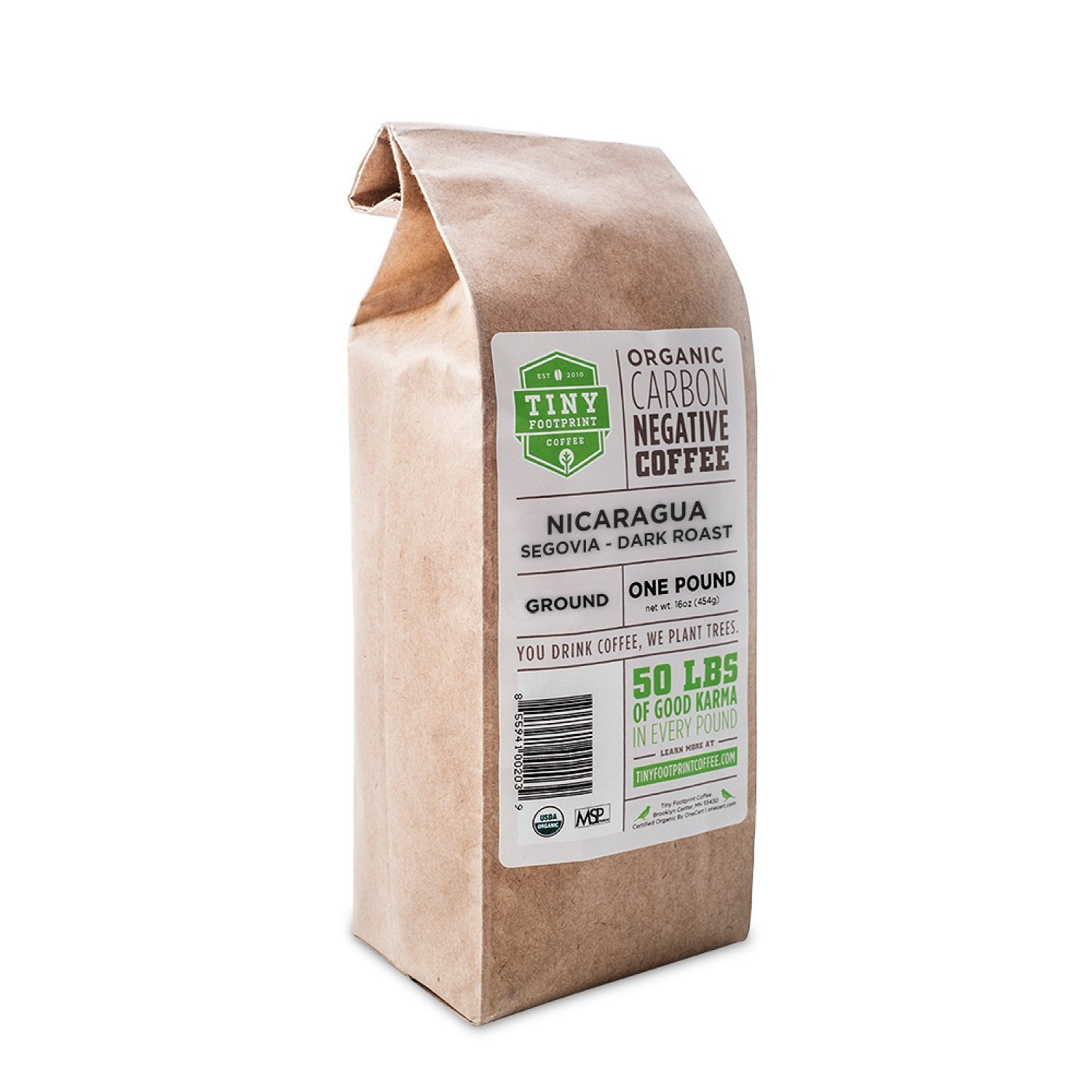 Tiny Footprint Coffee Organic Fair Trade Nicaragua Segovia Dark Roast, Ground Coffee, 1 Pound by Tiny Footprint Coffee
