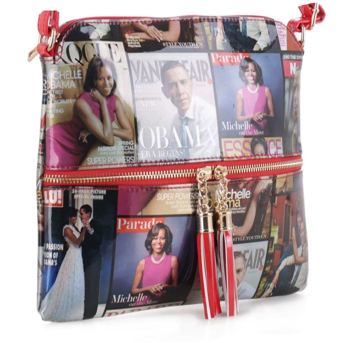 309846795266 Glossy Magazine Cover Lightweight Medium Crossbody Bag with Tassel Michelle  Obama Purse
