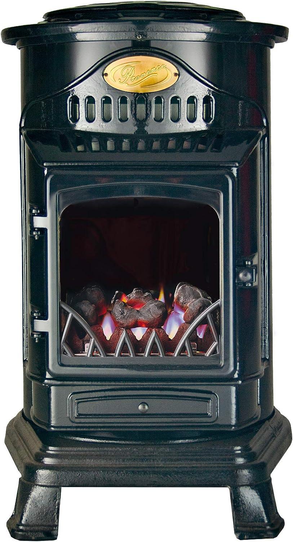 Calefactor auxiliar móvil gas estilo antiguo estufa Provence - Modelo 2019, negro