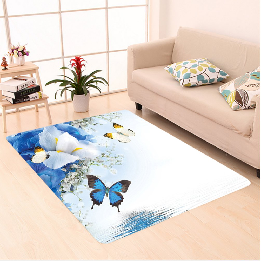 Nalahome Custom carpet Blue and White Wild Flowers with Monarch Butterflies Lily Therapy Zen Spa Art Prints Light Blue area rugs for Living Dining Room Bedroom Hallway Office Carpet (6.5' X 10')