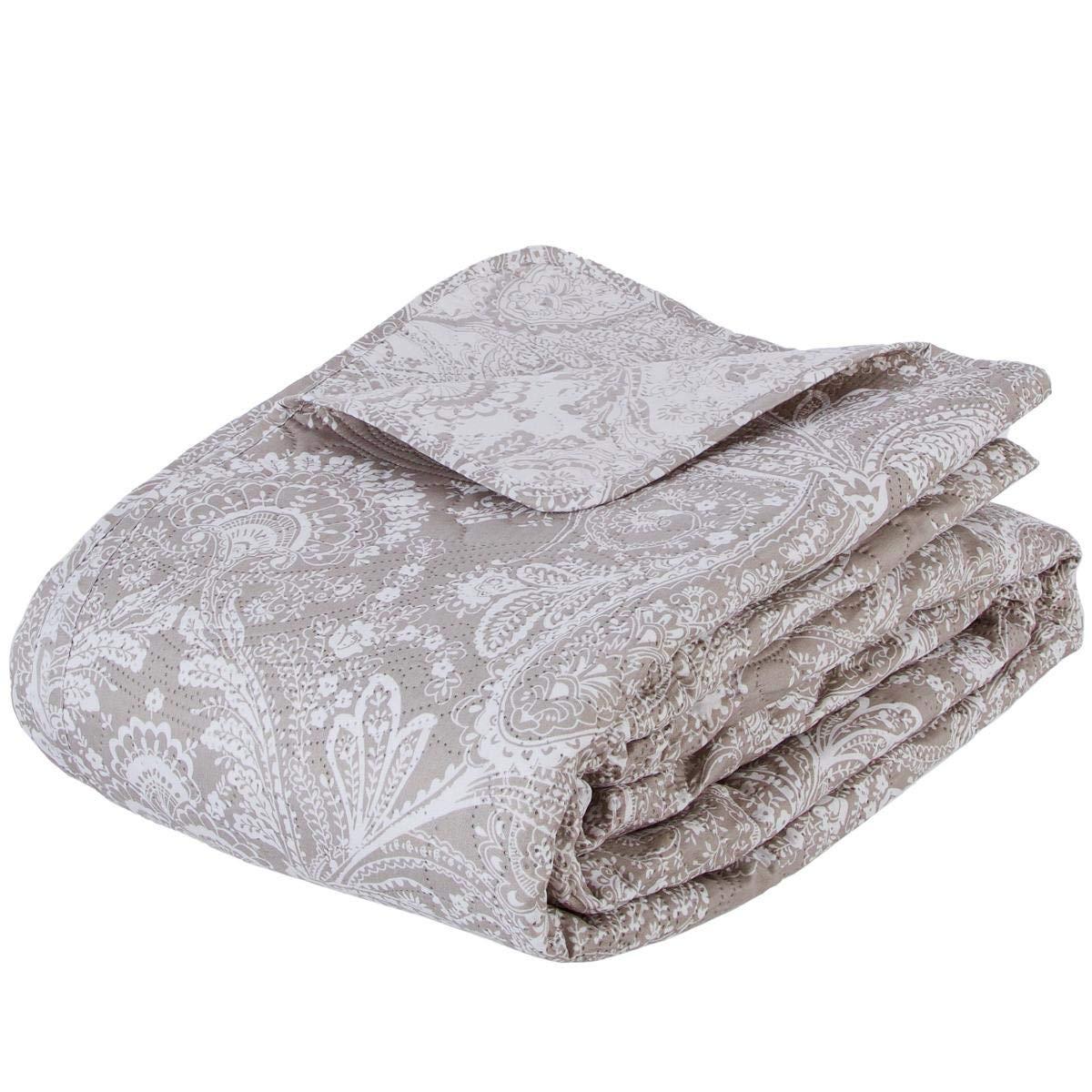 Ensemble dessus de lit matelass/é avec ses 2 housses de coussin Grande taille Coloris Beige
