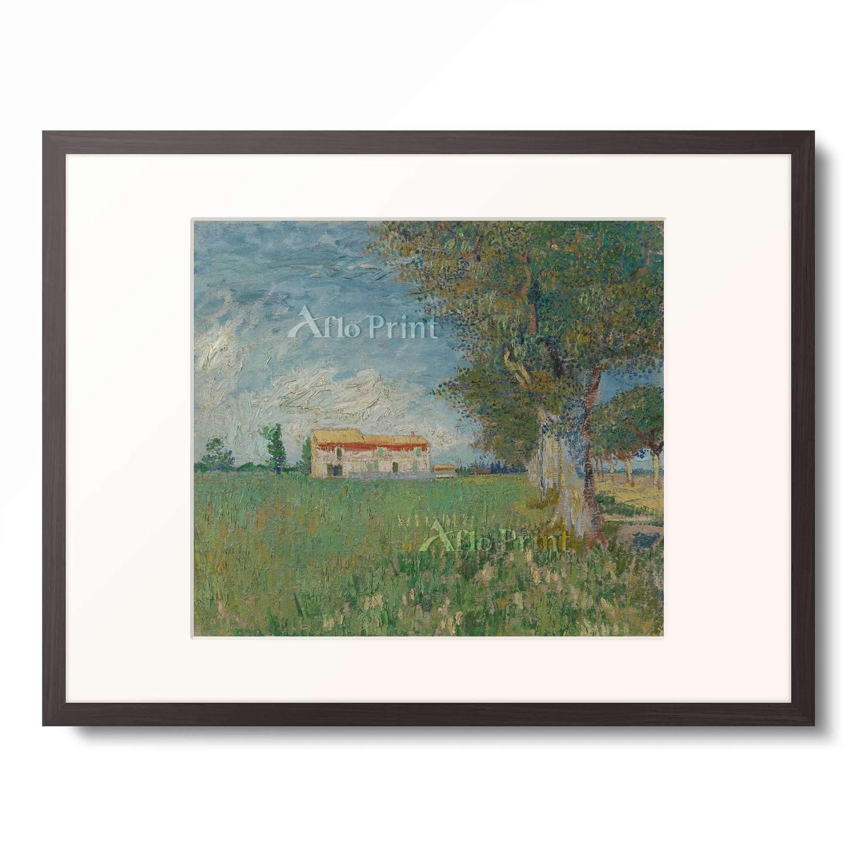 フィンセントファンゴッホ Vincent Willem van Gogh 「Farmhouse in a wheatfield」 額装アート作品 B07PD2GR24 03.木製額 12mm(墨) L(額内寸 509mm×394mm) L(額内寸 509mm×394mm)|03.木製額 12mm(墨)