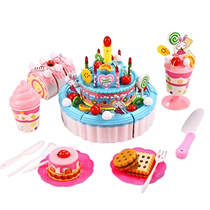 Amazon Dtemple Children Triple Layer Pretend Play Cake Set Toys Party With Candles Musical Blue Games