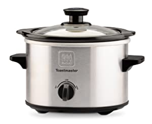 Toastmaster TM-151SC Stainless Steel Slow Cooker with Removable Stoneware Bowl 1.5-Quart Silver/Black