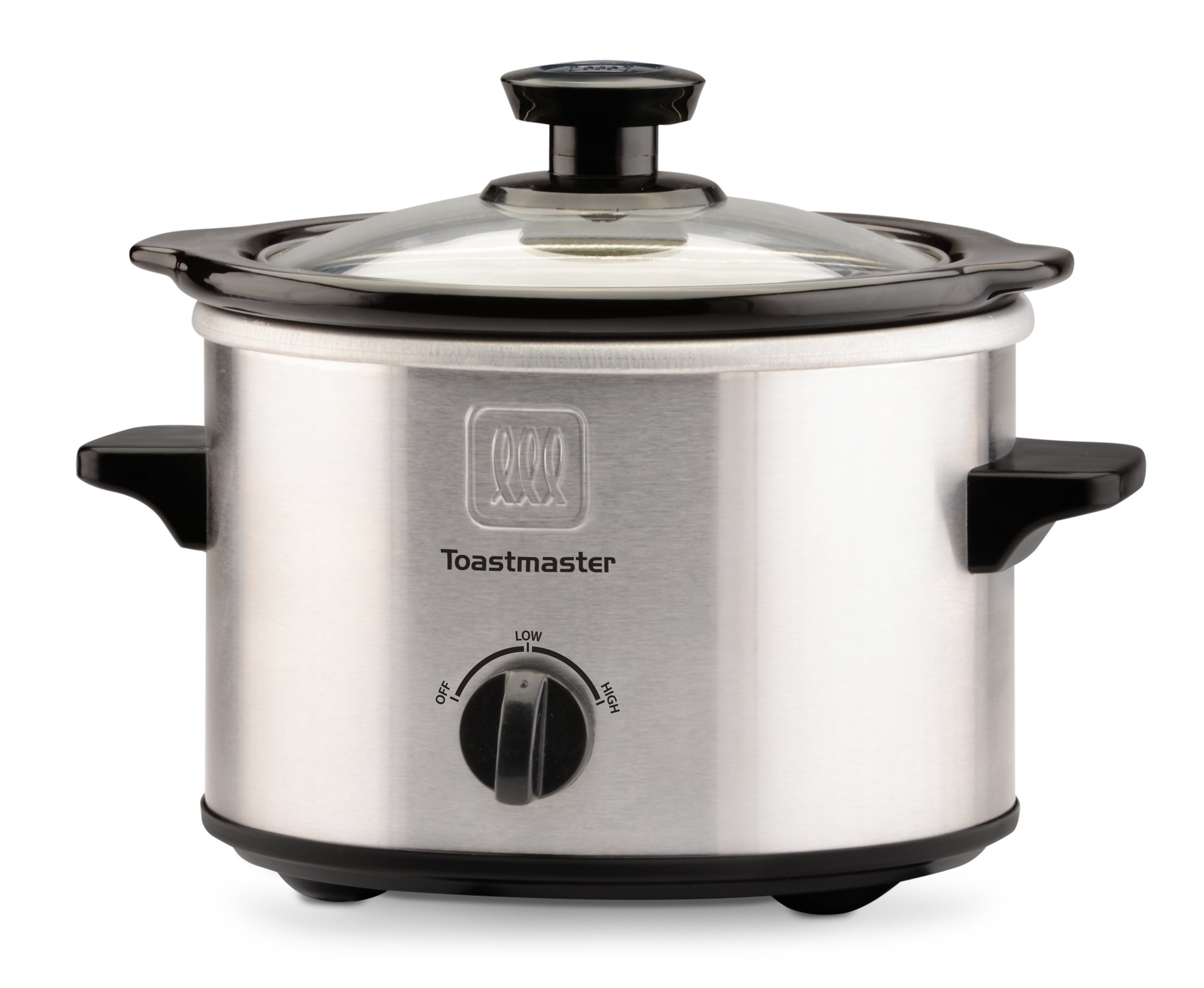 Toastmaster TM-151SC Stainless Steel Slow Cooker with Removable Stoneware Bowl, 1.5-Quart, Silver/Black