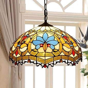 E27 Tiffany Pendelleuchte Bunt Barocken Glas Pendellampe Klassisch ...