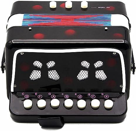 SODIAL Pequenos mini teclado ritmo acordeon instrumento Musical educativo banda juguete para ninos negro
