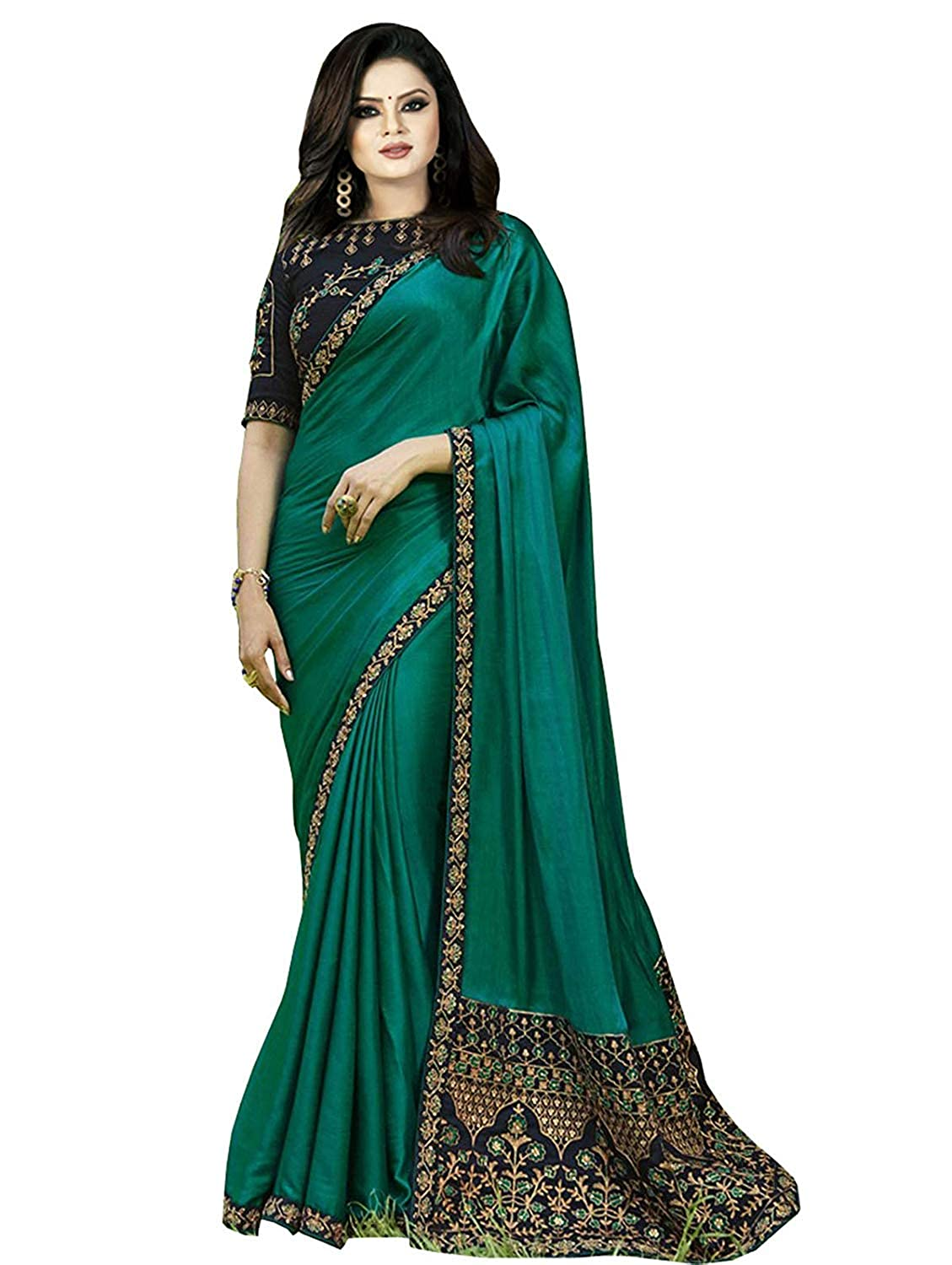 91d93d89d Jesti Designer Green Embroidery Georgette Saree  Amazon.in  Clothing    Accessories