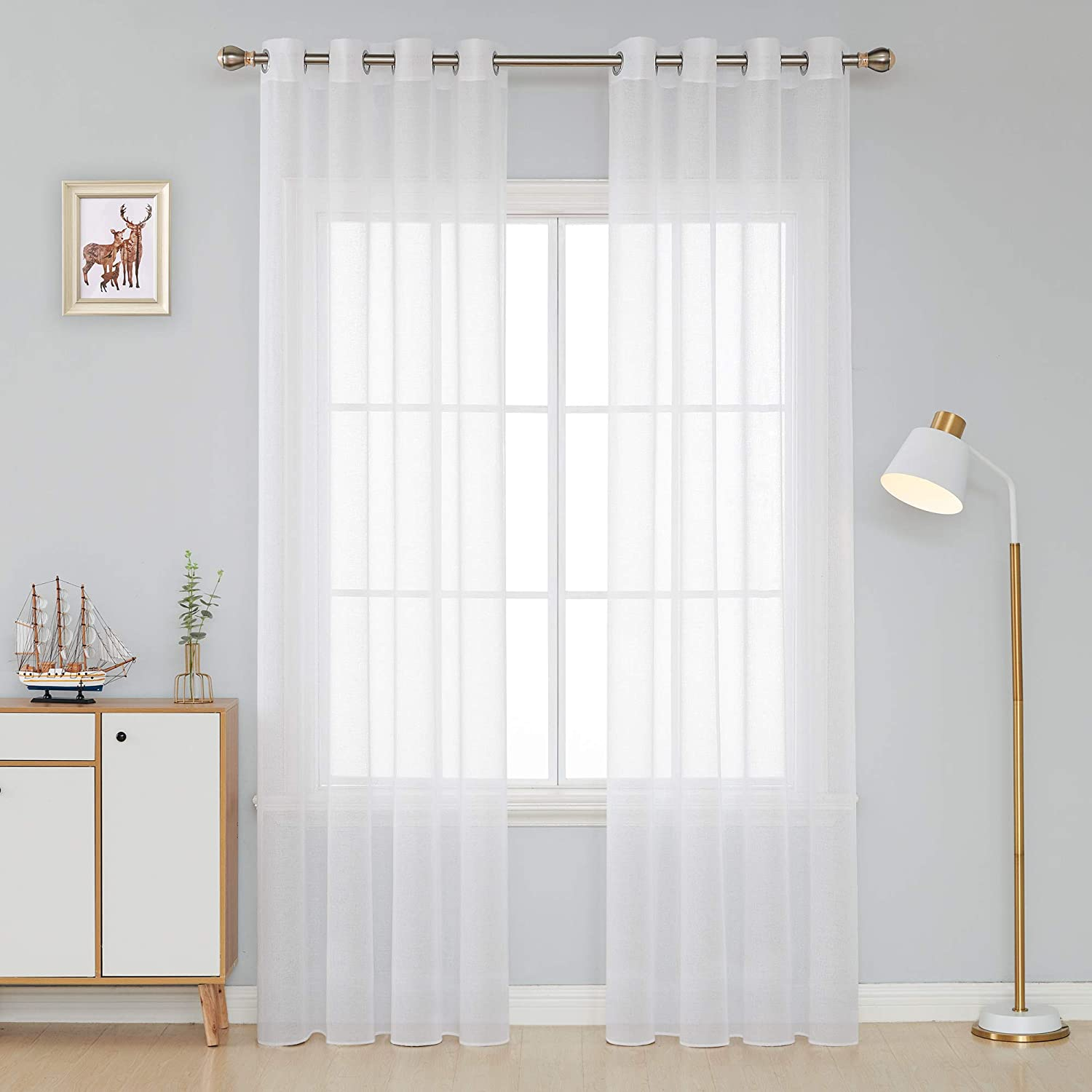 Amazon.com: Deconovo Sheer Curtains Transparent Grommet Top Voile