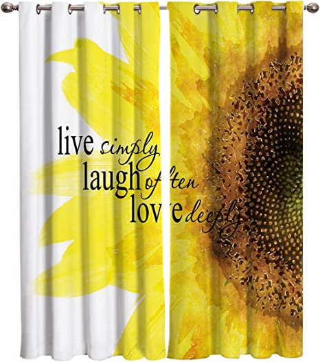Amazon Com T H Home Sunflower Curtains Floral Quote Live Simply Laugh Often Love Deeply Window Curtain 2 Panel For Sliding Glass Door Bedroom Living Room 104 W By 84 L