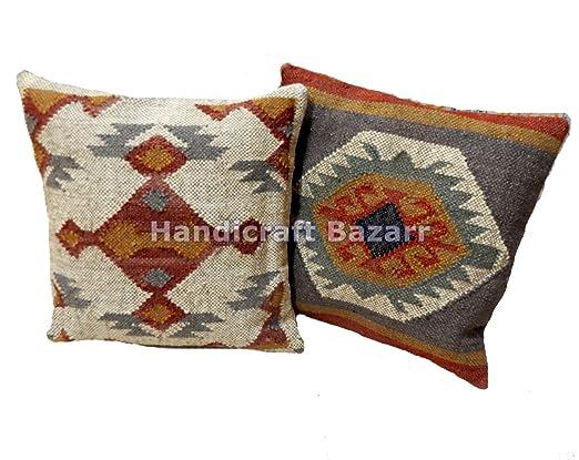 Handicraft Bazarr - Funda de cojín de Yute de Lana, diseño ...