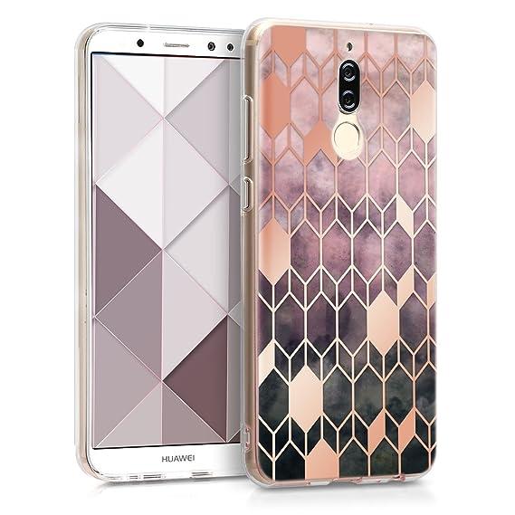 scarpe di separazione db93f e5326 kwmobile Case for Huawei Mate 10 Lite - TPU Silicone Crystal Clear Back  Case Protective Cover IMD Design - Dark Pink/Rose Gold