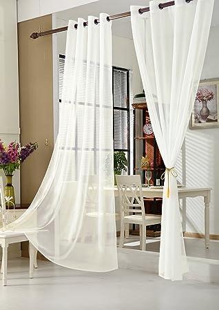 WOLTU VH5513cm, Gardinen Vorhang Transparent Mit Ösen Fensterschal Voile  Für Wohnzimmer Kinderzimmer Landhaus 140x225 Cm