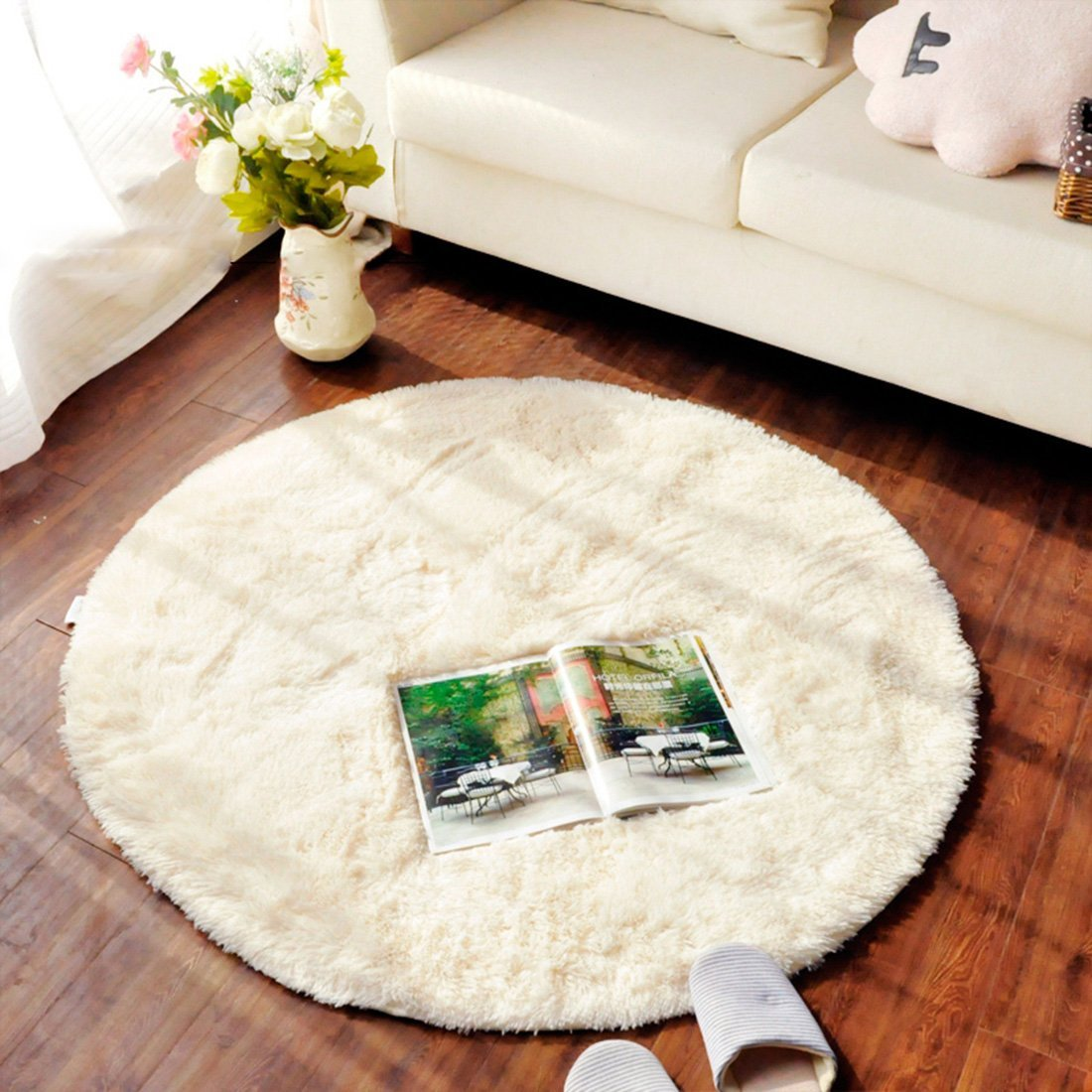 Amazon ONEONEY Round Shaggy Area Rugs And Carpet Super Soft Bedroom Rug For Kids Play Blue315315 Home Kitchen