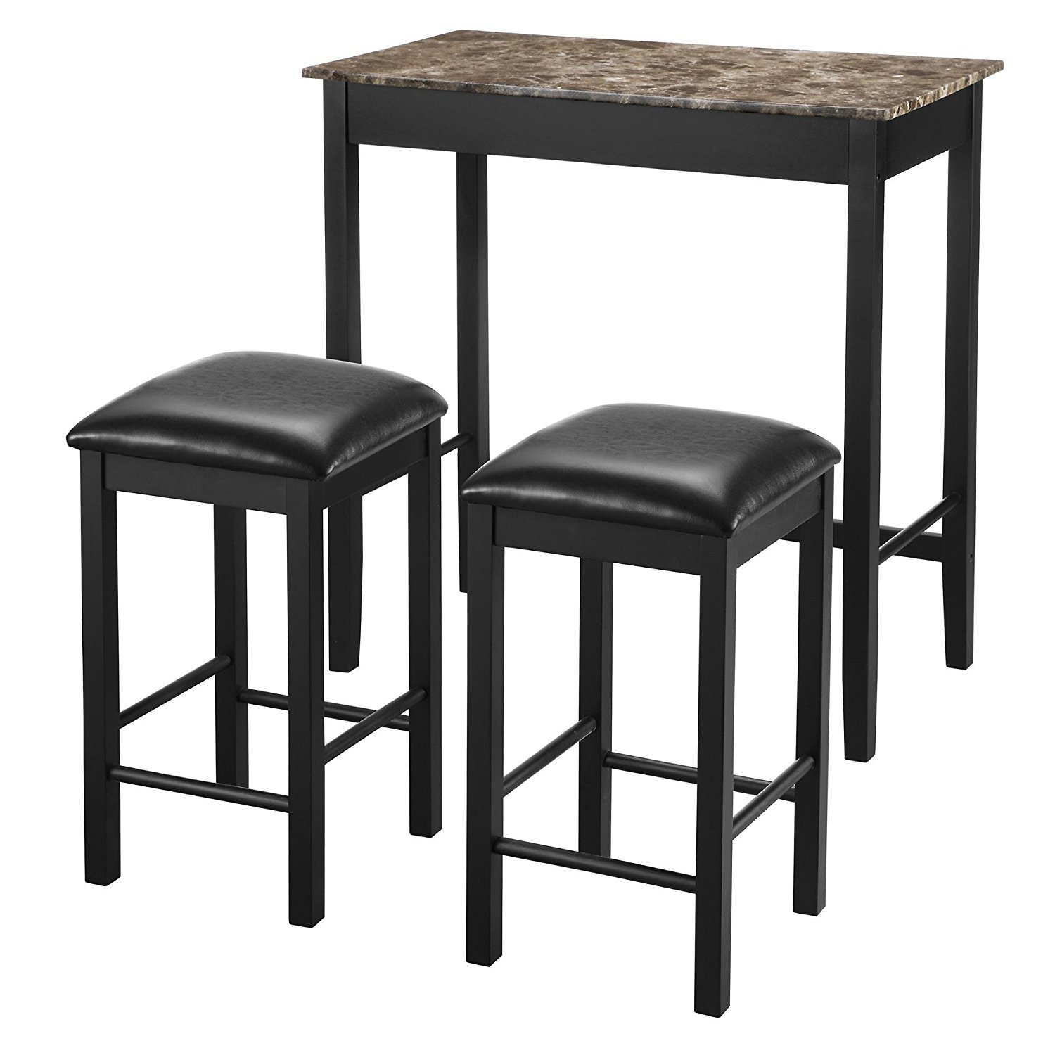 dorel living 3piece devyn faux marble pub dining set