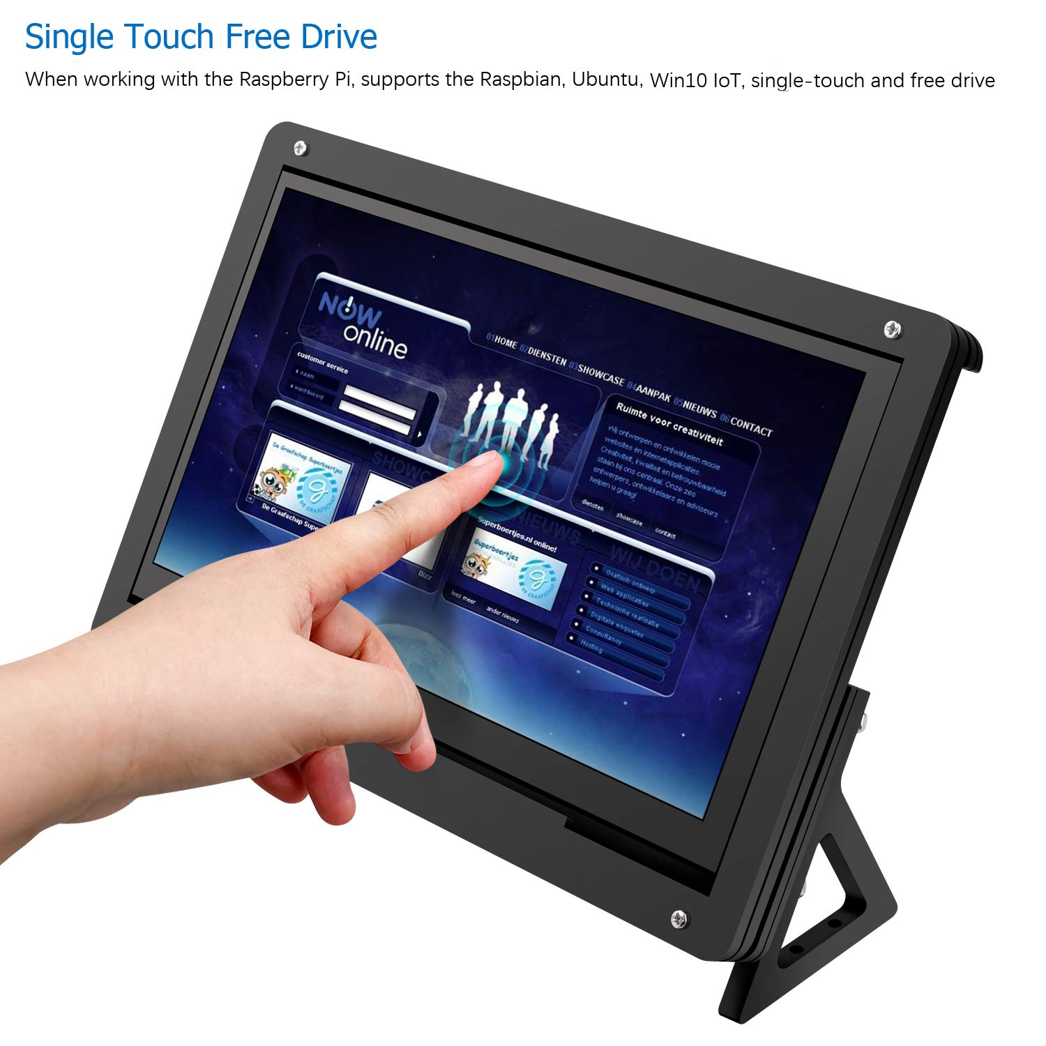 7 Inch TFT LCD Display HDMI Module 1024x600 for Raspberry Pi 3 2 Model B and RPI 1 B Longruner Raspberry Pi Touch Screen with Case Holder A BB Black PC Various Systems (with Protective Case)
