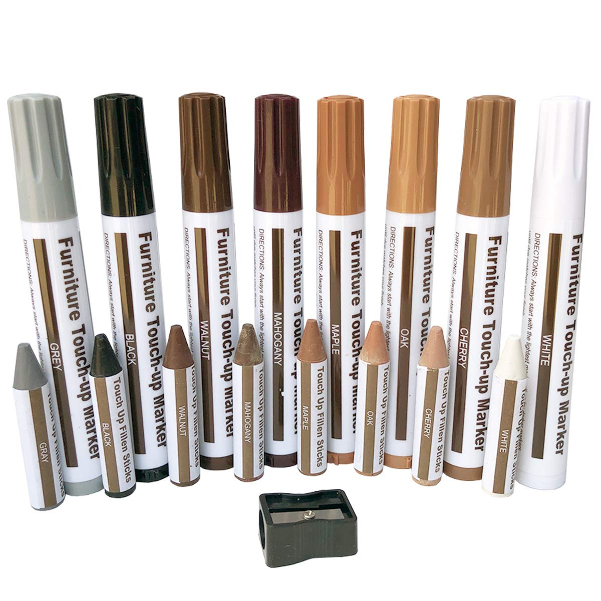 OupsTech Furniture Touch Up Markers White, 17-Pcs Furniture Repair Kit Wood Markers, Wood Furniture Repair, Furniture Repair Pen Set Maple, Oak, Cherry, Walnut, Grey, White, Black, Mahogany by OupsTech