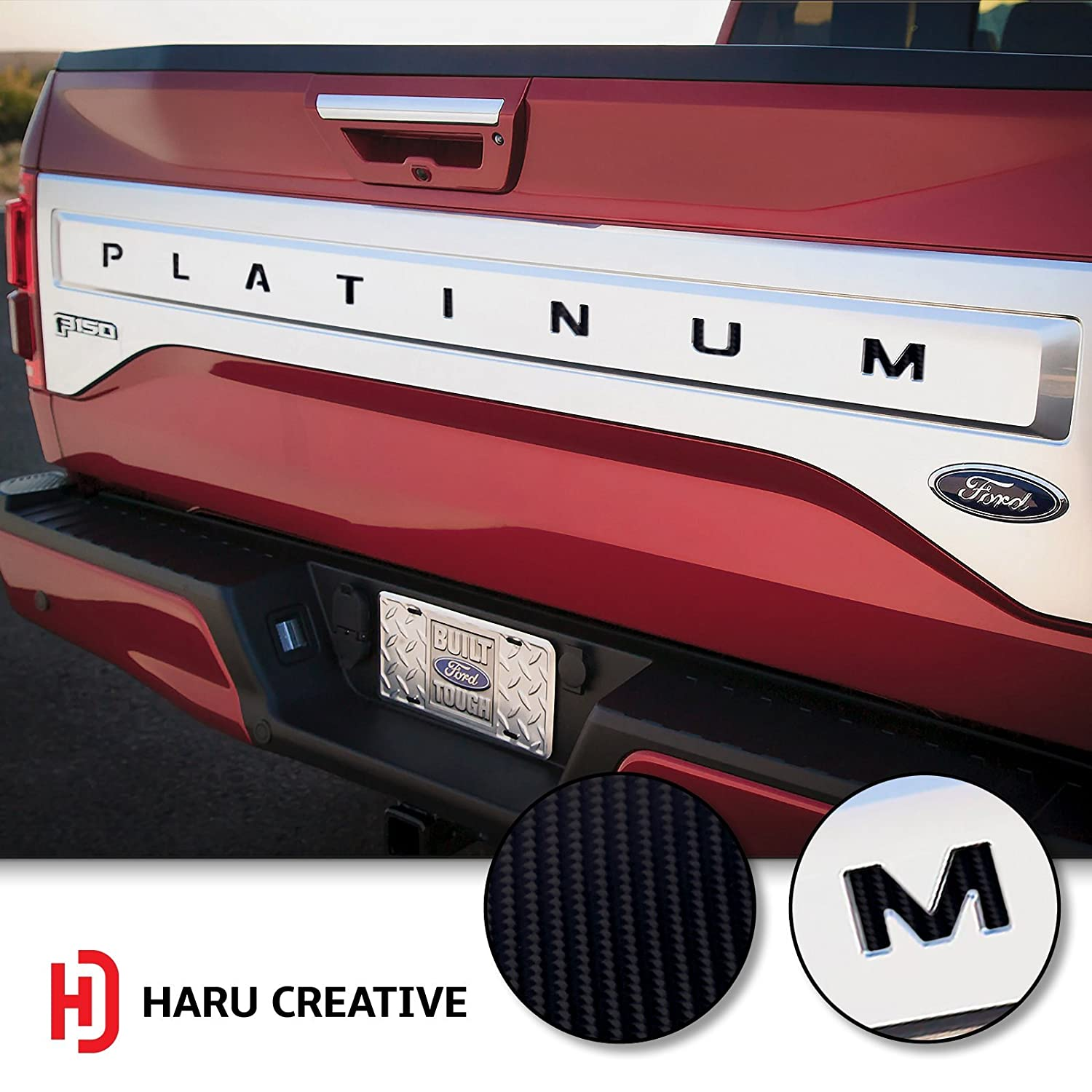 Rear Trunk Tailgate Letter Insert Overlay Vinyl Decal Compatible Fits Ford Platinum 2015 2016 2017 Haru Creative - 4D Carbon Fiber Black