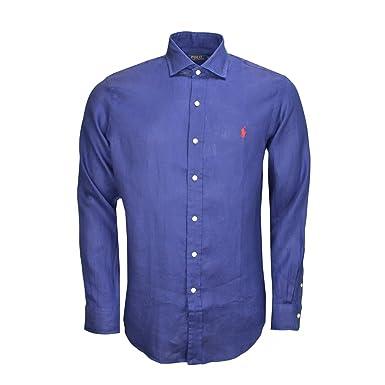 faire les courses pour toujours populaire hot-vente dernier Chemise en lin Ralph Lauren bleu marine pour homme