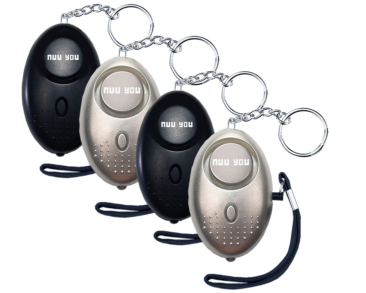 Personal Alarms for woman siren 140 DB with LED light (4 PACK),nuu you small Emergency Safety Sound Alarm Keychain for personal alarm Women/Kids/Girls/Elderly Self Defense Device Policeman Recommend by Nuu You