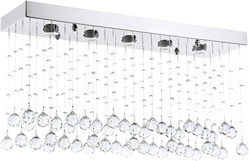 Moooni Rectangular Crystal Chandelier Lighting Modern Ceiling Light Flush Mount Lighting Fixture