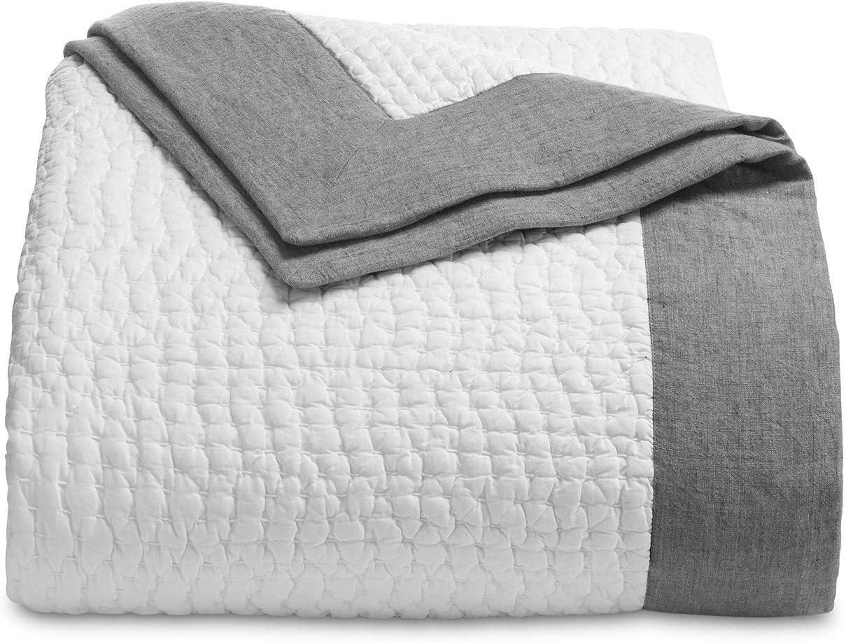Hotel Collection Voile Cotton Quilted King Coverlet Grey