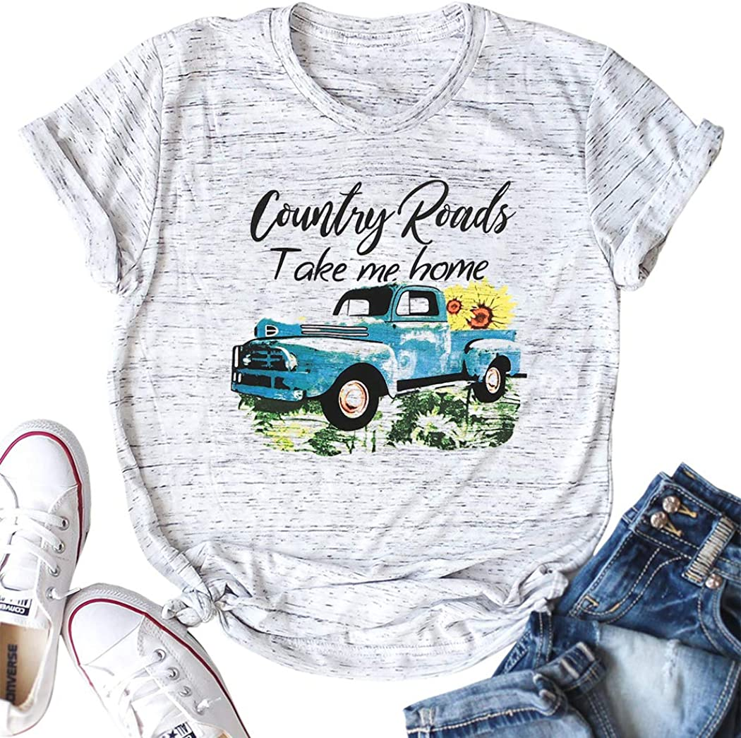 ASTANFY Mountain Shirt Women Take Me Home T Shirt Summer Casual Short Sleeve Mom Tee Country Road Top Tee