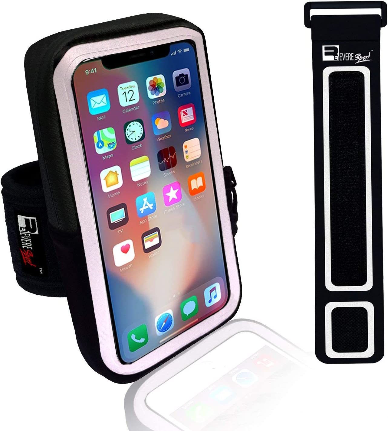 Premium iPhone X/10 Running Armband with Face Scanner Access. Sports Phone Arm Case Holder for Runners, Gym Workouts