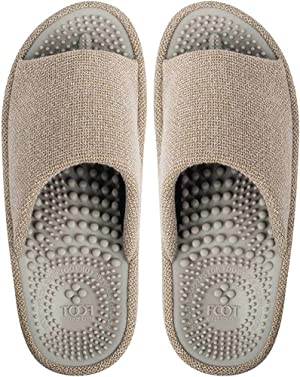 BIKINIV Acupressure Reflexology Massage Slippers with Orthotic for Flat Feet Plantar Fasciitis Arch Support House Sandals, Boost Circulation Improves Health